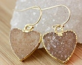CLEARANCE SALE Druzy Crystal Heart Earrings - 14K Gf - Choose Your Druzy Pair