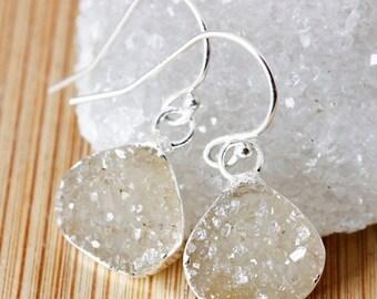 ON SALE Mini Vanilla Agate Druzy Earrings - Wide Teardrops - Drusy Jewelry