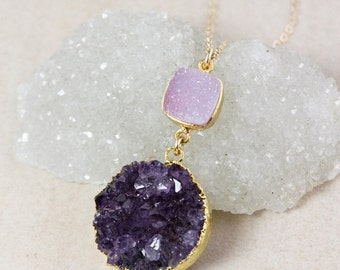 50% OFF Pink and Purple Druzy Pendant Necklace – Choose Your Druzy – 14K Gold Filled Chain