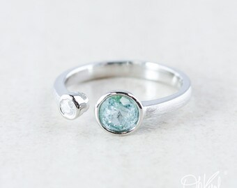 Silver Blue Tourmaline & Diamond Dual Ring - Sea Blue Tourmaline