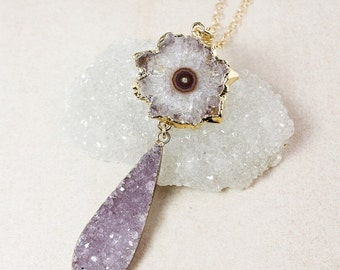50% OFF Teardrop Druzy and Amethyst Stalactite Necklace – Choose Your Druzy – Layering Necklace