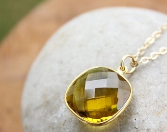 CLEARANCE SALE Gold-Green Quartz Gemstone Necklace - 14KT Gold Fill - Cushion Cut