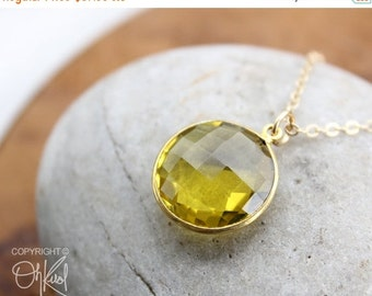 CLEARANCE SALE Gold-Green Quartz Gemstone Necklace - 14KT Gold Fill - Simple Bezel Necklace