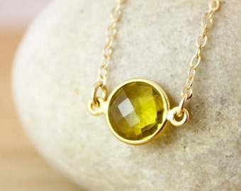CLEARANCE SALE Gemstone Connector Necklace - Choose Your Gemstone - 14K Gf, Round Pendant