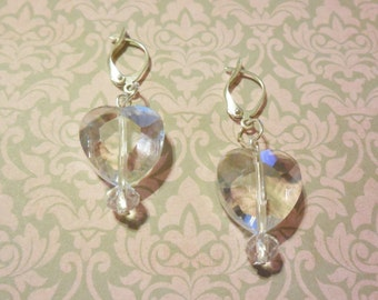 HEARTS Leverback Earrings Crystal Glass Dangle Charm Silver Plated Drop