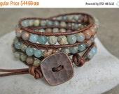 SALE Kesia African Opal Beaded Leather Wrap Bracelet
