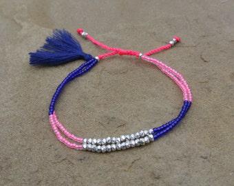Summer Boho Chic - Beaded Tassel Bracelet/Anklet - Blue/Pink Glass Beads-Pewter Beads - Friendship Stackable Bracelet ~