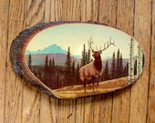 Vintage Deer Wall Hanging Wood Slice Souvenir Tree Forest Rustic Cabin Decor Buck on Mountain.