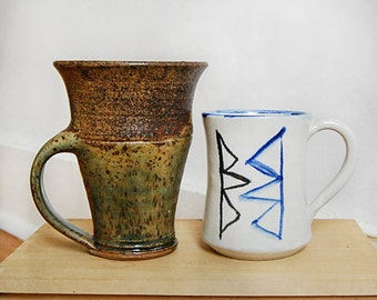 Handmade Pair of Ceramic Mugs or Cups with Geometric Triangle and Rust Green Organic Down to Earth for Coffee or Tea.