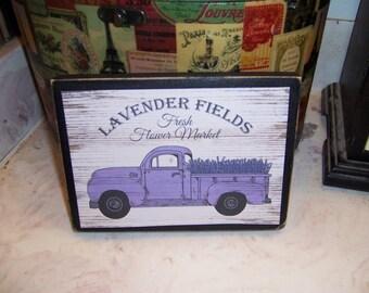 Lavender Fields Truck sign block,French Farmhouse,Paris decor,French Rustic,Paris bedroom decor,French decor,French country decor