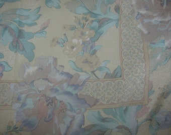 Vintage Liz Claiborne Large Square Silk Scarf - Pale Colours - Pastel Floral Print, Softly Coloured Flowers