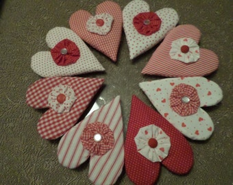 Embellished Calico Valentine's Hearts Ornies Bowl Fillers Shelf Sitters Knob Hangers Decorations