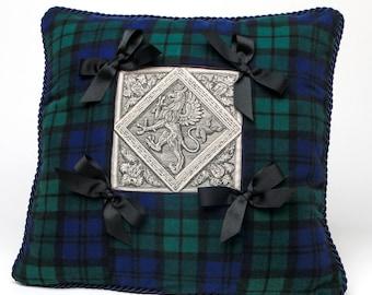 Tartan - Pillow / Cushion Cover / Black Watch Tartan / Plaid with Medieval Griffin Motif