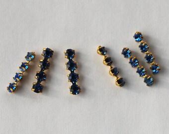 Vintage Rhinestone Bars Swarovski 6 Sapphire Blue Aged Metal Setting 14mm