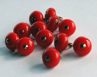 Vintage Glass Buttons 12 Cherry Red Glass Buttons 8mm Metal Marcasite Tip