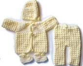 Newborn Coming Home Outfit, Unisex Sweater Set, Yellow Layette, Gender Neutral, Baby Shower Gift Set