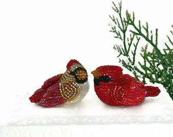 Cardinal Bird Couple Male and Female Bird Figurine Set Beaded Decoration Animal Totem *READY TO SHIP
