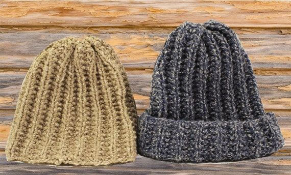Knitting On The Round Hat : Knit hat pattern patterns in round seeded rib