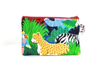 Animal Safari Zippered Bag / Coin Purse / ID Case / Gadget Pouch with Split Ring