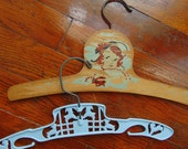 Vintage 2 Wooden Plastic Childrens Clothing Hanger Hangers