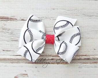 Baseball Hair Bow,  Pinwheel Hair Bow, Girls Baseball Hair Bow, Sport Hair Bows, Girls Hair Accessories, Toddler Hair Bows, Piggy Tail Bows