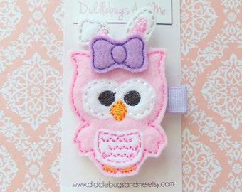 Owl With Bunny Ears, Bunny Owl Hair Clip, Easter Hair Clip, Girls Hair Clip, Pink Owl Hair Clip, Owl Hair Clip, Toddler  Hair Clip
