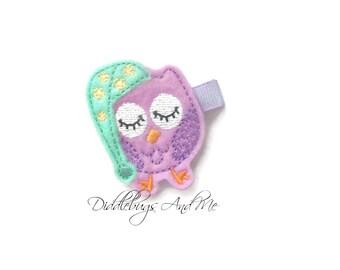 Sleepy Owl Hair Clip, Purple Owl Hair Clip, Felt Owl Hair Clip, Girls Hair Accessories, Toddler Hair Clips, Sleepy Time Owl Hair Clips