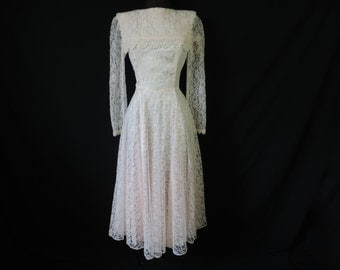 pink lace tea dress 80s floral lacy romantic bridal wedding gown small