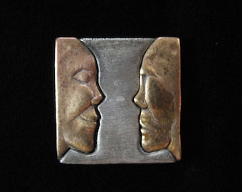 Brass and Pewter African Faces Slider Pendant by JJ