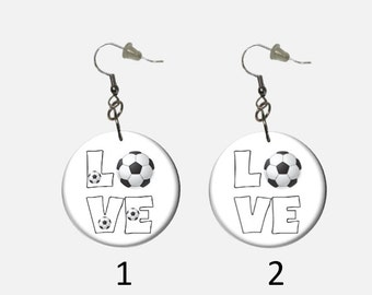 Love Soccer Ball Dangle Earrings Choose  Multiple Soccer Balls or Single Soccer Ball Sports Earrings