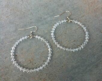 SALE Simple Clear Crystal Hoops Hoop Earrings, big hoops, plain, solid, swarovski, sale jewelry, genuine, neutral