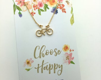 """Bike Necklace - Silver or Gold Bicycle Charm Necklace - Choose carded """"Choose Happy"""" or in a gift box- Gift for her - gift with a message"""