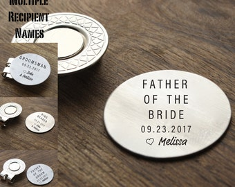 Father of the Bride Gift Golf Ball Marker Personalized Best Man Gift Groomsman Father of Groom Usher Golf Ball Marker for Dad Parent Gift