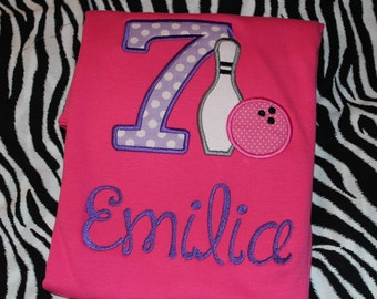 7th birthday Bowling party shirt for girl or boy- any number