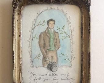 Mr.Darcy. Framed Original Watercolor. Pride and Prejudice Art.