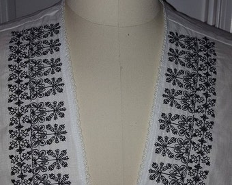 Renaissance, Elizabethan, Italian, Under-Partlet, Blackwok, Redwork, 100% Belfast Handkerchief Weight Linen  (MADE TO ORDER)