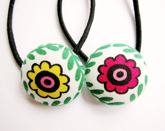 Button Ponytail Holders - Red and Yellow Flowers
