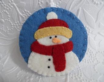 Decoration Snowman Ornament Felt Penny Rug Christmas Tree Decor Felted Wool Red