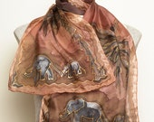 African Inspired Elegant Hand Painted Silk Scarf with Elephants Africa Palm Tree Orange Brown 13 X 51.