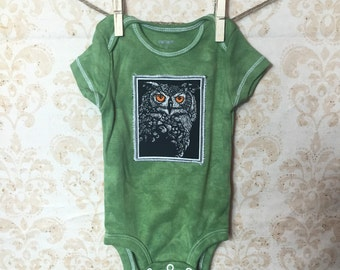 3 month Baby Hand Dyed Halloween Owl Appliqued onesie
