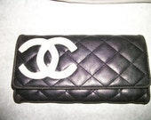 Wallet Black Quilted Trifold Clutch Woman's Multi Pocket Vintage on sale