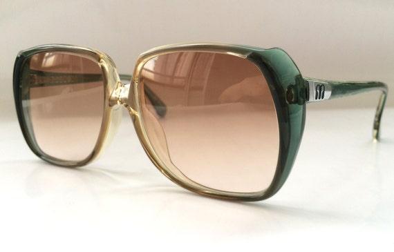 80s Vintage German Clear Blue Square Frame Sunglasses
