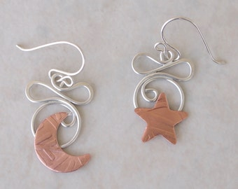 Star and Moon Earrings; Moon and Star Earrings; Silver and Copper Star & Moon Earrings