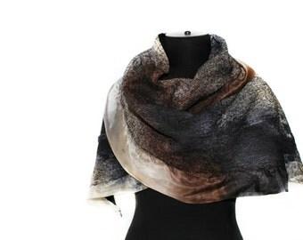 Handmade Nuno Felted Scarf Earthy Multicolor Felt Wrap OOAK Felt Gift Fall Fashion Accessory