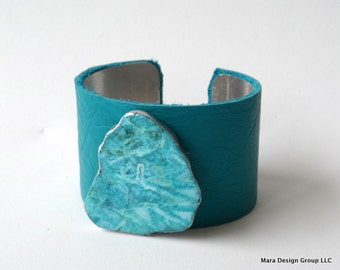 """leather cuff bracelet  - turquoise leather with turquoise magnesite stone  - 1.5"""" wide"""