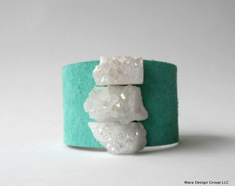 """leather cuff bracelet  - turquoise suede with trio of white druzy  - 1.5"""" wide"""