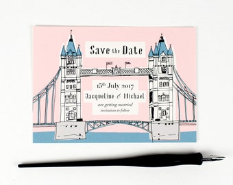 x 30 hand drawn Old London save the date cards