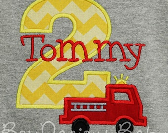 Fire Truck Birthday Shirt, Firetruck Birthday Shirt or Bodysuit, Boys Birthday Shirt, Firetruck Birthday, Sound the Alarm Party, Fire Engine