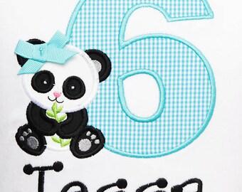 Panda Birthday Shirt, Panda Birthday Shirt or Bodysuit, Girls Panda Birthday Shirt, Any Age, Custom Colors and Fabrics, Boys or Girls