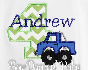 Monster Truck Birthday Shirt, Boy's Monster Truck Birthday Shirt, Personalized Monster Truck Birthday Shirt, Any Age, You Pick Fabrics